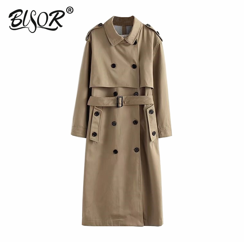 Women casual Card color   trench   double breasted outwear sashes office coat chic epaulet design long   trench   2019 autumn Tops