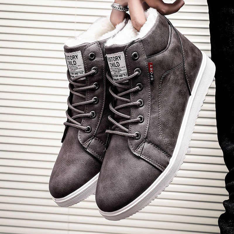 冬黒男性の靴暖かい冬の靴男性 pu レザーブーツ男性快適な靴 zapatos デやつ bota ş hombre