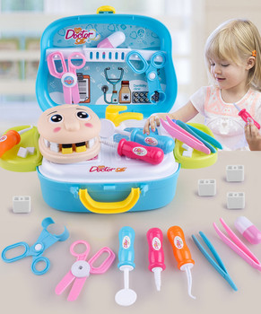 17PCS doctor play house children's puzzle cosplay dentist medicine box set medical kit doctor nurse dentist pretend role  S4 kids toys doctor set baby suitcases medical kit cosplay dentist nurse simulation medicine box with doll costume stethoscope gift