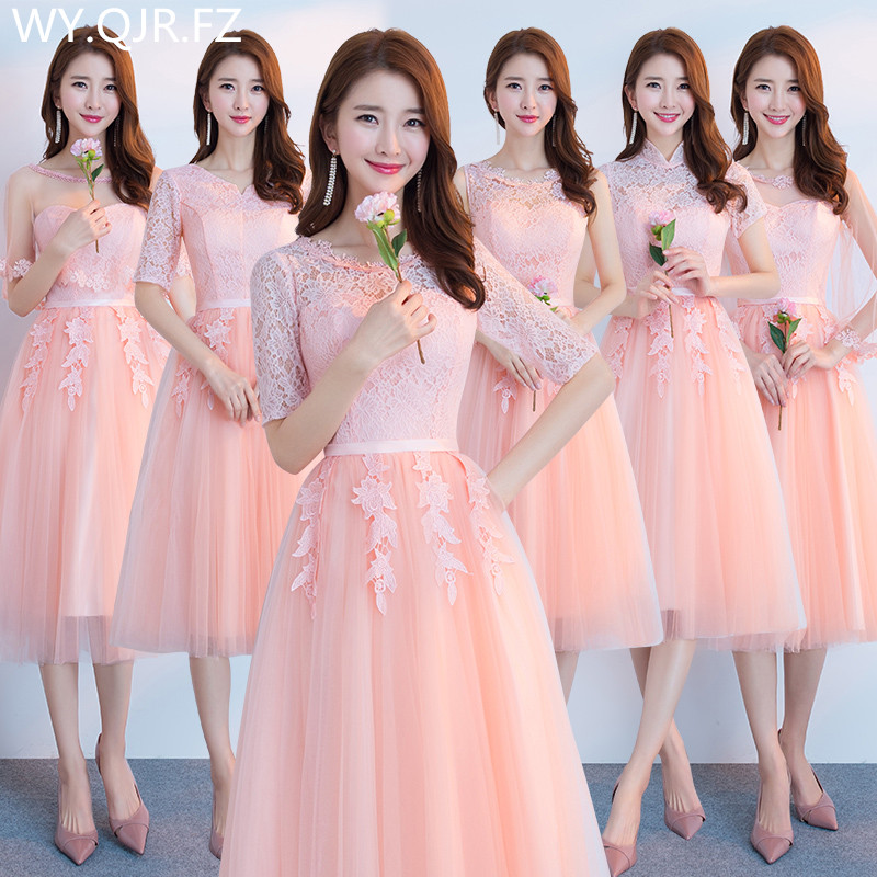 JYX79Y#O-Neck Half Sleeve Lace Up Medium Long Pink Wine Red Bride's Bridesmaid Dresses Wedding Party Prom Dress 2019 Wholesale
