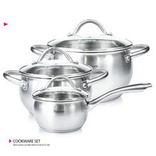 Kitchenware set with glass lid stainless steel bottom induction plate saucepan set-1.2L Saucepan-2L 3.7L(China)