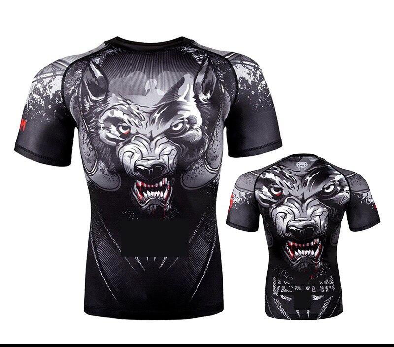 T Shirt Sportwear MENS MMA TRUNKS   Sublimated Print Bjj Boxing Rashguard Jiu Jitsu Gi Rash Guard Breathable Muay