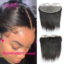 Extensions droites brésiliennes frontales de cheveux de vierge de la dentelle 13x4 de dentelle transparente avec des noeuds blanchis par cheveux de bébé 10 20 inch