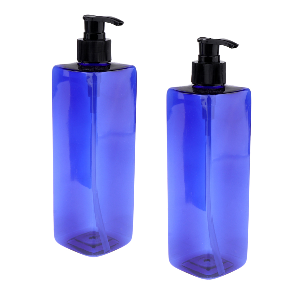 500ml Empty Blue Square Bottles With Pump Large Capacity Containers For Shampoo, Lotions, Liquid Body Soap, Creams Pack Of 2