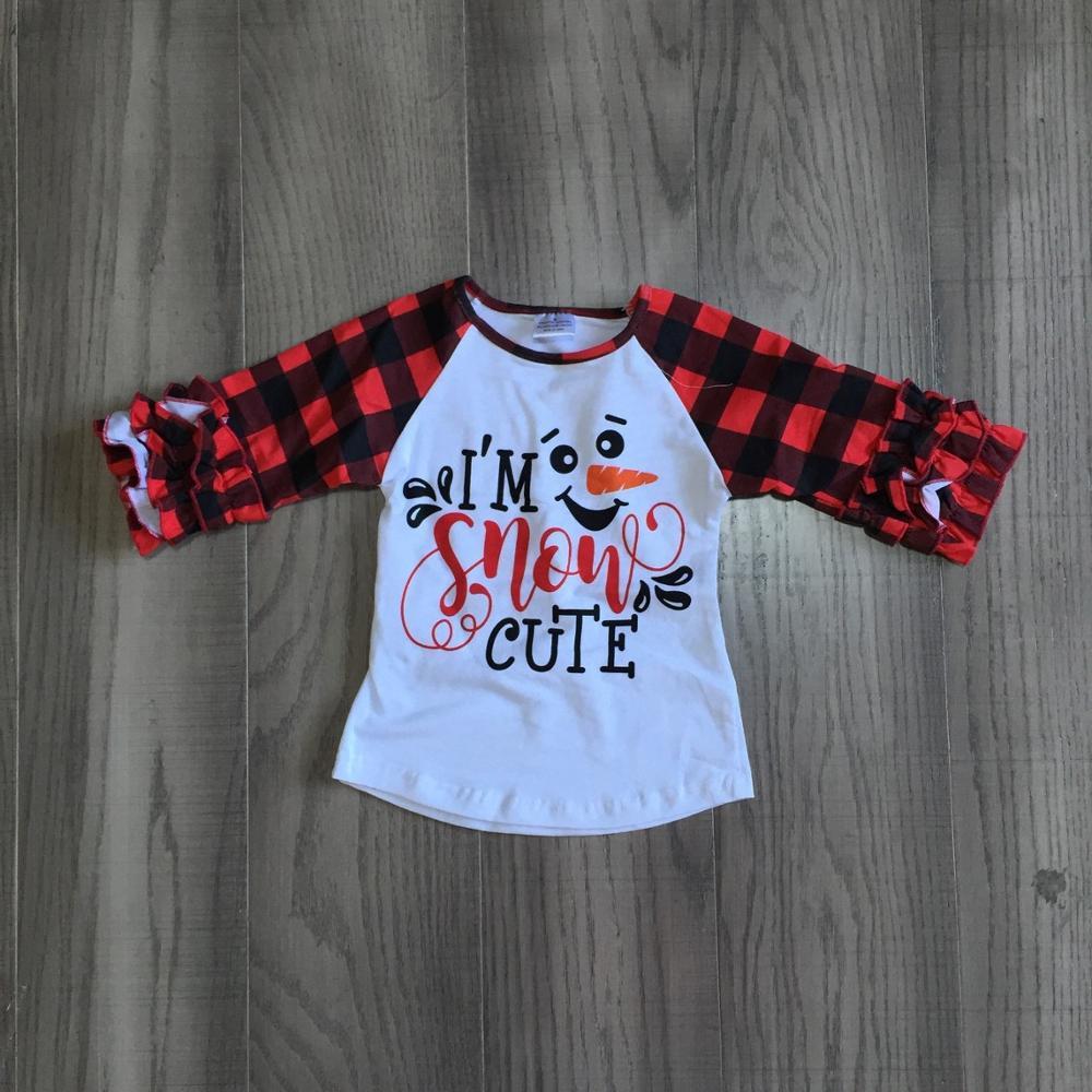 Girlymax Fall/Winter Baby Girls Christmas Cotton Icing Sleeve Top T-shirt Raglans Plaid Snow Cute Snowman Children Clothes 1