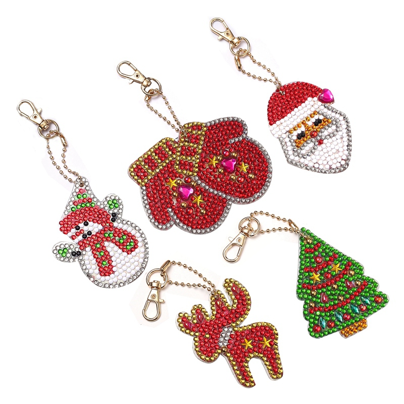 5pcs/set DIY 5D Diamond Painting Embroidery Cartoon Double Sided Keychain Key Ring Jewelry Handmade Christmas Gifts
