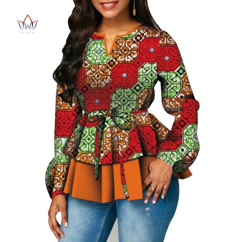 Dashiki African Shirt For Women Bazin Riche Ankara Print Long Sleeve Shirts Top Women African Clothing Causal Party WY5015