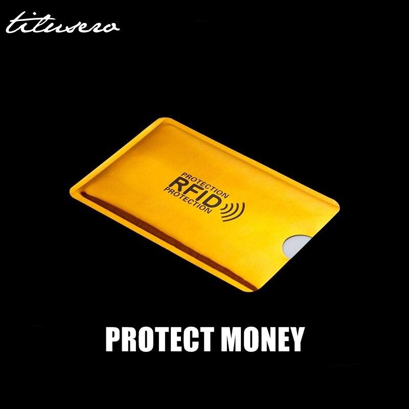 Laser Aluminium Anti Rfid Wallet Blocking Reader Lock Bank Card Holder ID Bank Card Case Business Protection Metal Credit H118
