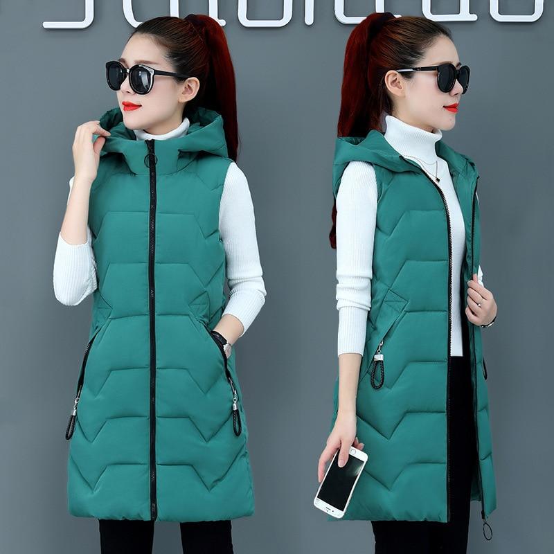 2019 Winter Coat Women Hooded Warm Long Vest Plus Size Candy Color Cotton Jacket Female Women Wadded Feminina Chalecos