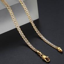 Davieslee ожерелье для женщин с золотым наполнением, женское ожерелье с цепочкой, плетеная Мужская и женская бижутерия 3 мм 45 см 50 см 55 см DLGN328