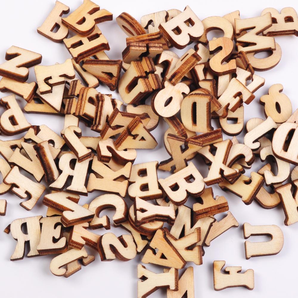 100 pçs número de madeira inglês alfabetos bebê educação precoce aprendizagem ferramenta scrapbooking madeira diy letras artesanato cardmaking supplie