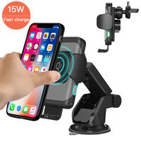 15W Automatic Clamping Wireless Car Charger for iPhone for Samsung Fast Wireless Car Charger with Phone Holder Quick Charge