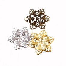 Free shipping 10Pcs  Filigree Flower Wraps Connectors Metal Crafts Decoration DIY Findings 57mm