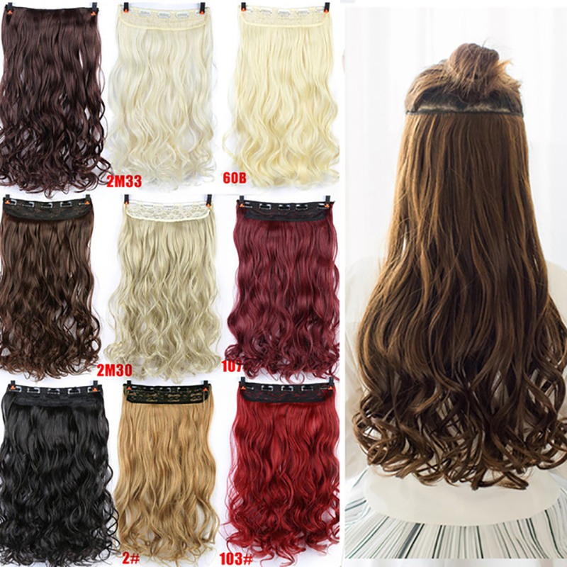 Allaosify Wavy Straight Women Clip In Hair Extensions Black Brown High Tempreture Synthetic Pieces Halo Hair Extension 613 Ombre