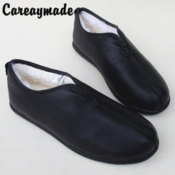 Careaymade-Winter handmade head layer leather shoes,sheepskin wool one warm non slip flat with leather casual shoes retro shoes