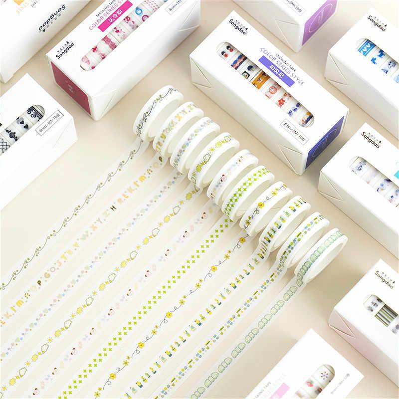 10 Buah/Set Washi Tape Lucu Dekoratif Pita Perekat Warna Solid Masking Tape untuk Stiker Scrapbooking DIY Stationery Tape
