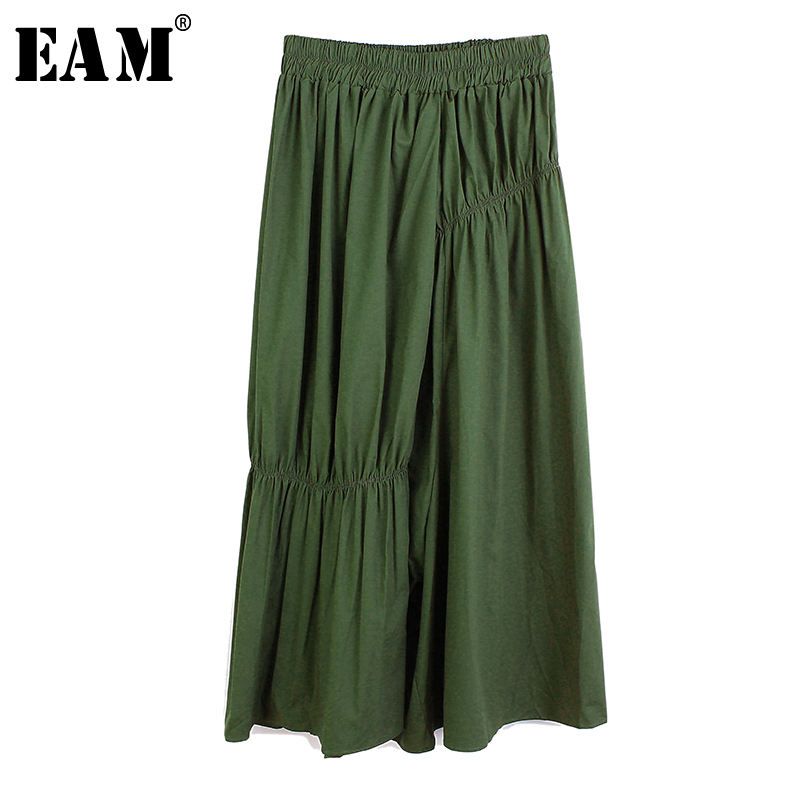 [EAM] High Elastic Waist Army Green Pleated Long Wide Leg Trousers New Loose Fit Pants Women Fashion  Spring Autumn 2020 1S597