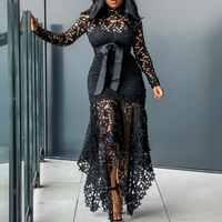 Винтажное вечернее сексуальное черное кружевное длинное платье большого размера большого M-XXXL 4XL женское Сетчатое ажурное облегающее синее...