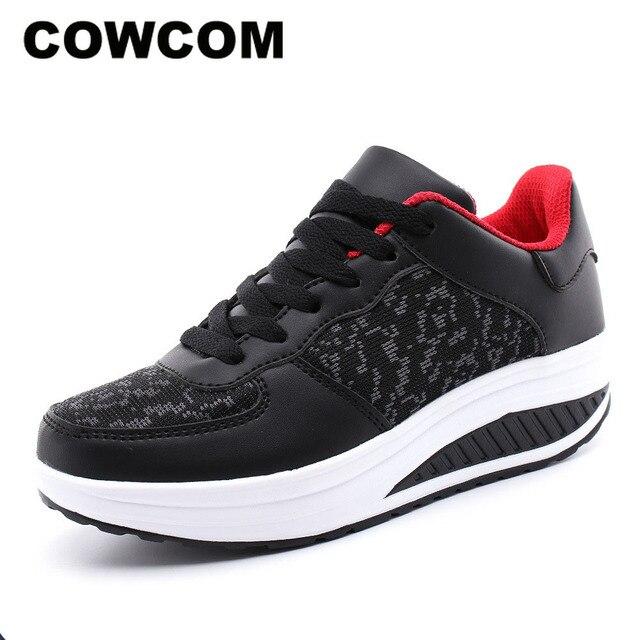 كاوكوم قطرة بيع أحذية نسائية تحلق والنسيج أحذية من الجلد الترفيه الرياضية أسفل هزة أحذية Twinkie أحذية 35 43 CYL 5083