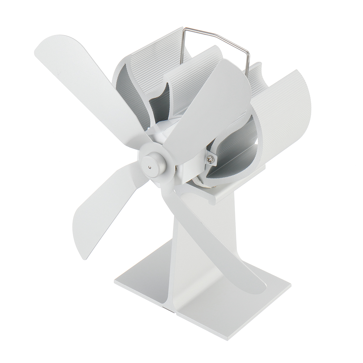 Fireplace 4 Small Blade Heat Powered Stove Fan Log Wood Burner Eco Friendly Quiet Fan Home Efficient Heat Distribution White