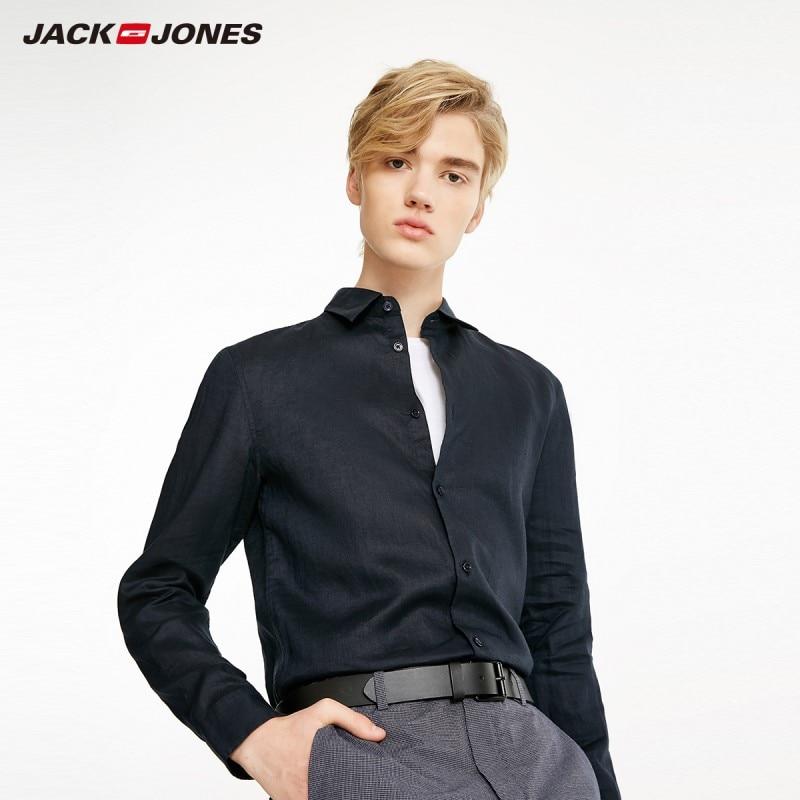 JackJones Men's 100% Linen Basic Long-Sleeve Shirt Menswear 219105522