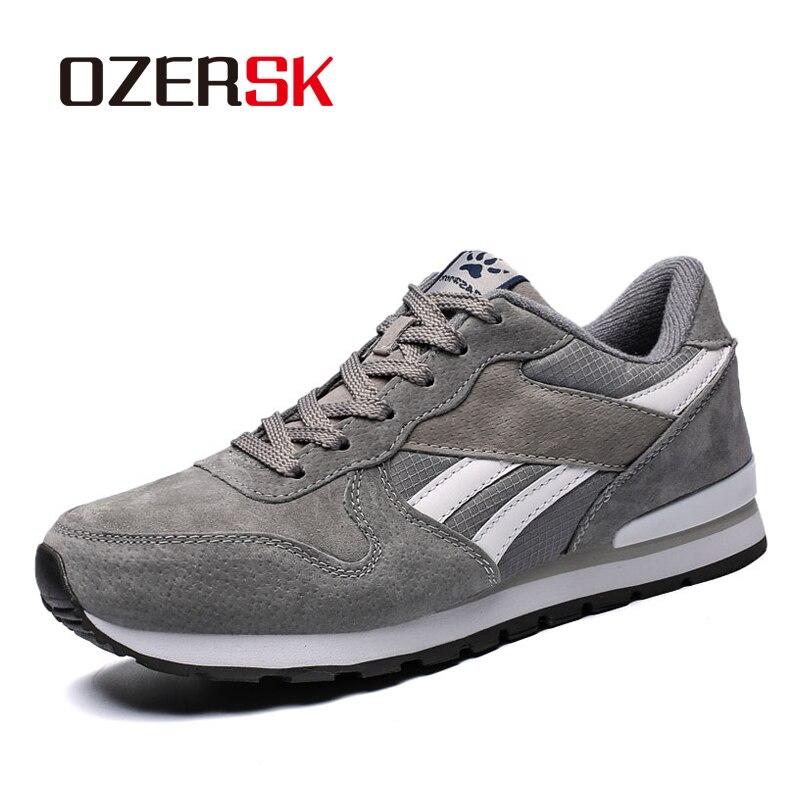 OZERSK 2020 Hot Sale Fashion Men Cow Suede Breathable Causal Shoes Lace Up Men Shoes Leisure Walking Shoes Men Flats Size 36~45