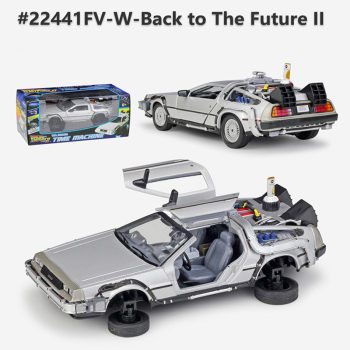Welly 1:24 Diecast Alloy Model Car DMC-12 delorean back to the future Time Machine Metal Toy Car For Kid Toy Gift Collection 2