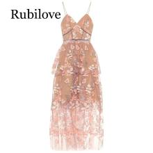 Rubilove 2019 summer new suspender skirt sexy slim mesh holiday long dress female