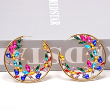 Vintage Round Colorful Crystals Dangling Drop Earrings Metal Hollowed-Out Pendientes Jewelry Accessories For Women Christmas