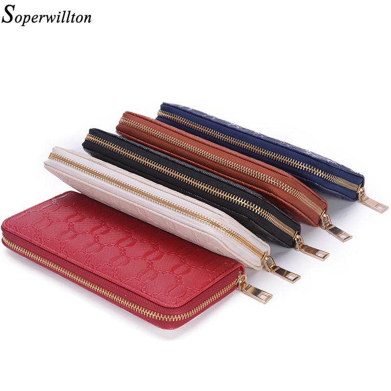 Soperwillton Women Wallet Long PVC Women Message Bag Purse Women Girl #W116