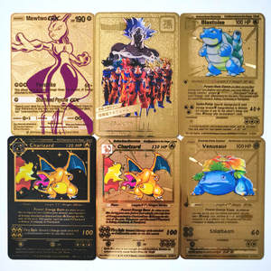 GX MEGA Gold Metal Card Super Pokemon Game Collection Anime Cards Game Children Toy