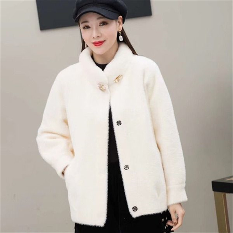 2019 Women's Jacket Imitation Velvet Solid Color Thick Warm Wool Collar Cardigan Single-breasted Fashion Commuter