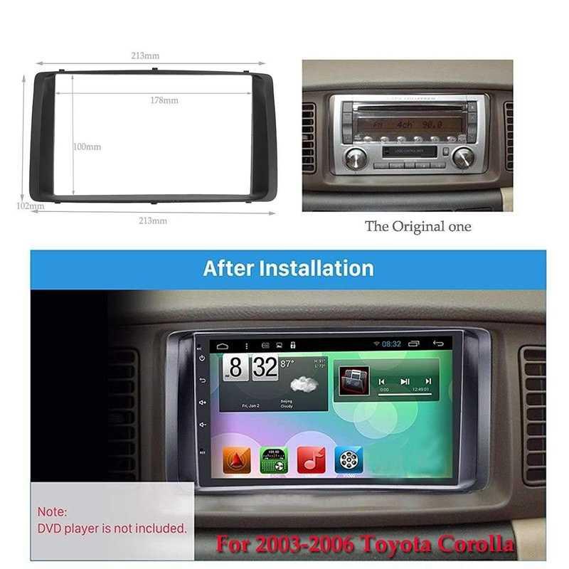 178x100Mm podwójna ramka radia samochodowego 2Din na lata 2003-2006 Toyota Corolla odtwarzacz DVD Stereo zainstaluj zestaw paneli Surround Trim