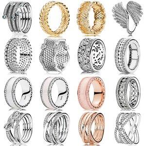 925 srebrny pierścień koronki miłości pierścionki z kryształem dla kobiet Wedding Party Gift biżuteria