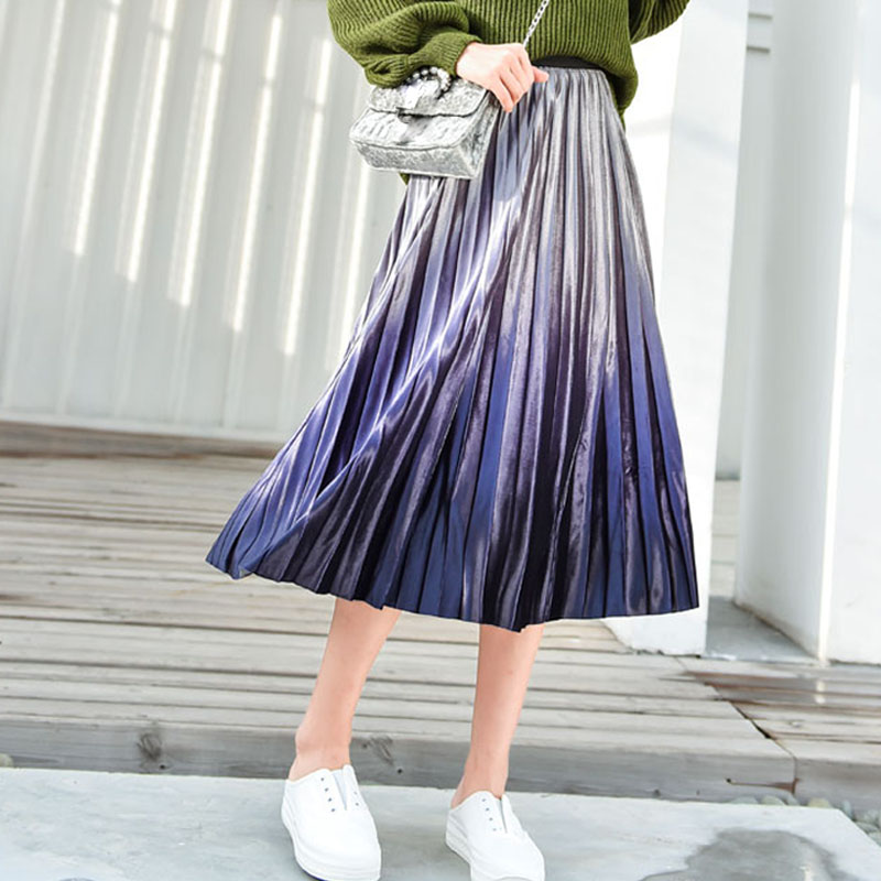 OHRYIYIE Elegant Womens Midi Colorful Print Long Skirt Autumn Winter Casual Korean Fashion High Waist Pleated Sun Skirt Female-in Skirts from Women's Clothing on AliExpress - 11.11_Double 11_Singles' Day 1