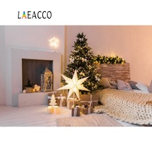 Laeacco Christmas Tree Decor Gift Pillow Fireplace Interior Photo Backgrounds Customized Photography Backdrops For Studio