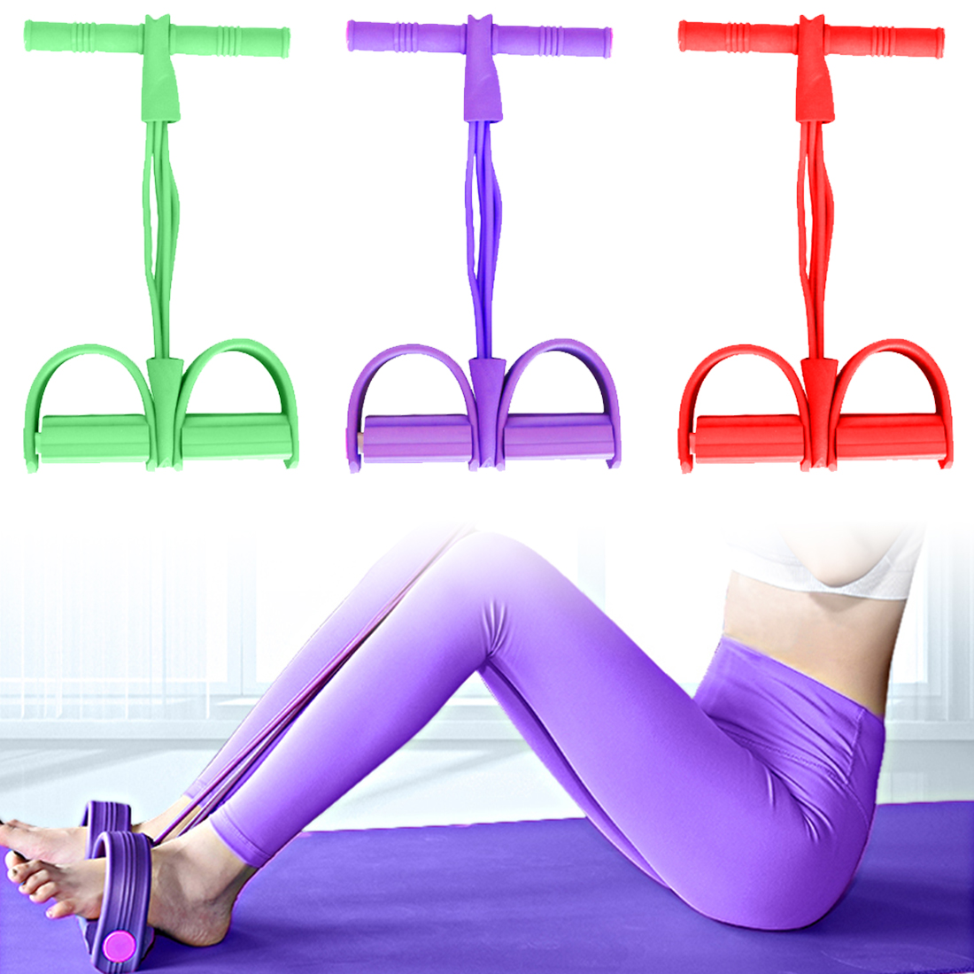 <font><b>4</b></font> <font><b>Tube</b></font> <font><b>Fitness</b></font> Elastic Sit Up Pull <font><b>Rope</b></font> Abdominal Exerciser Home Gym Sport Equipment Pull <font><b>Rope</b></font> Pedal Ankle Puller Elastic Bands image