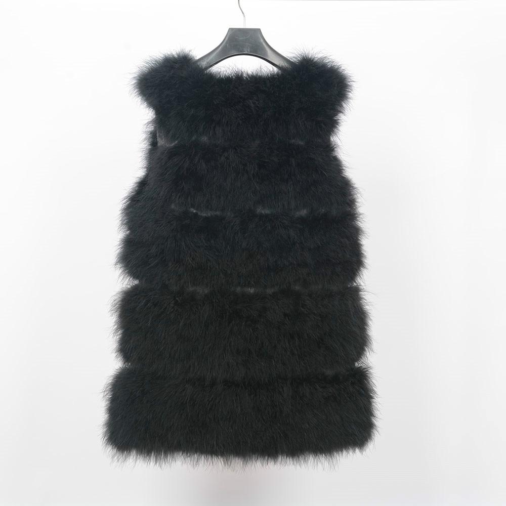 Жилет из натурального меха страуса, зимний теплый жилет, Модный женский меховой жилет - Цвет: black