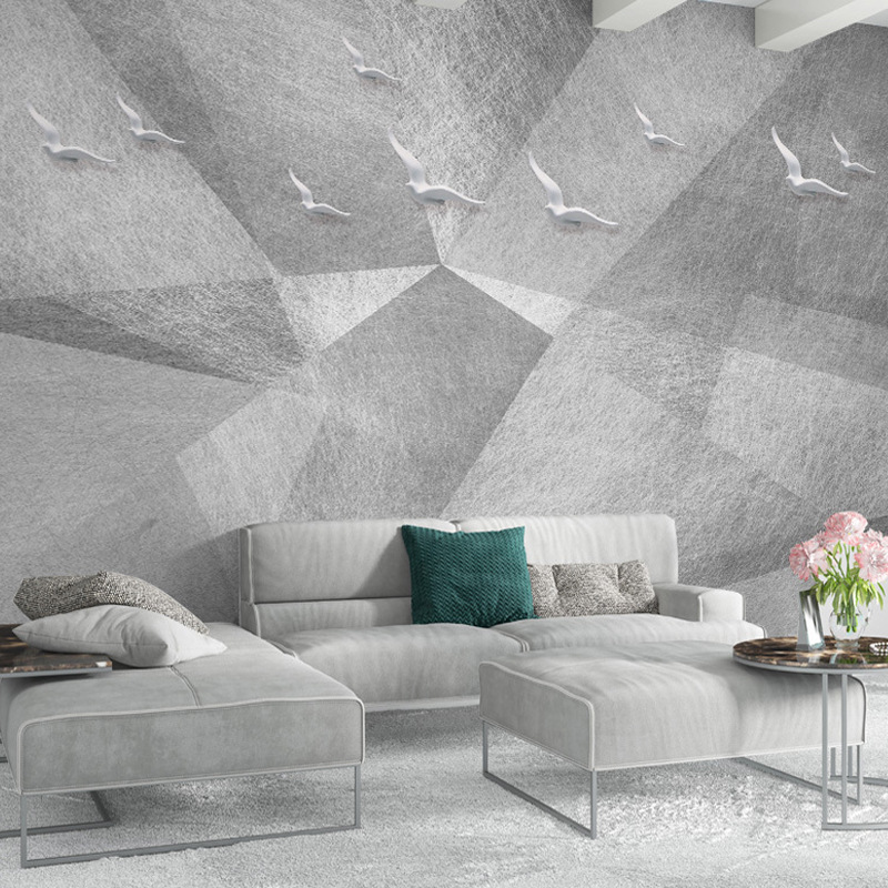 Scandinavian Minimalist Cool Abstract Geometry Relief Flying Bird TV Backdrop