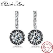 [Черный AWN] 925 пробы серебряные ювелирные изделия обруч серьги для женщин Черный шпинель камень Bijoux серебро 925 ювелирные изделия T001