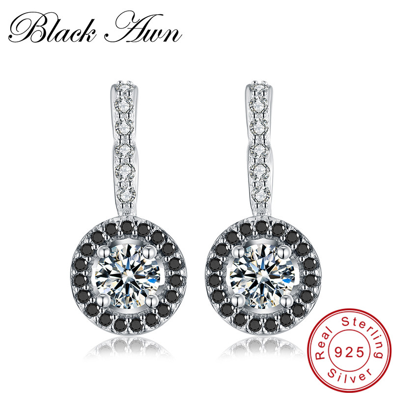 [BLACK AWN] 925 Sterling Silver Jewelry Engagement Hoop Earrings For Women Black Spinel Stone Bijoux Silver 925 Jewelry T001