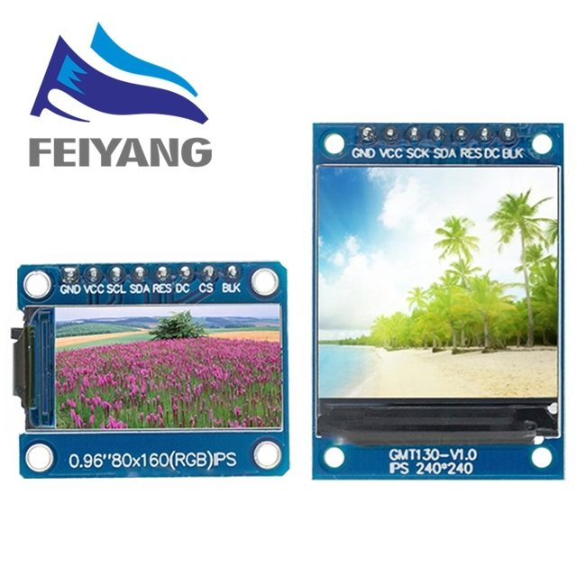 10PCS TFT Display 0.96/1.3 inch IPS 7P SPI HD 65K Full Color LCD Module ST7735 Drive IC 80*160 (Not OLED) For Arduino