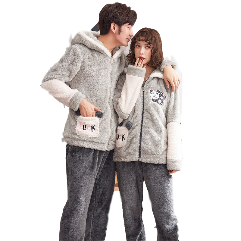 Autumn And Winter Coral Fleece Couple Pajamas Long-Sleeved Men And Women Plus Velvet Cartoon Home Service Flannel Thickening Sui