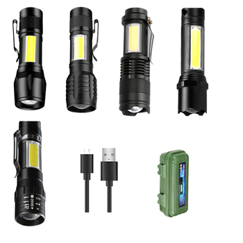 Portable Mini LED Flashlight Zoom Built in Battery USB Rechargeable Lights 3 Modes XPE COB Outdorr Hunting Working Torch panyue usb xml xpe cob led flashlight portable mini zoom torchflashlight waterproof in life lighting