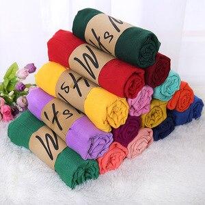 Image 1 - Écharpe à bulle en coton pour femmes, grande taille, châle froissé, bandeau musulman, Hijabs, couleur bonbon, écharpe automne et hiver