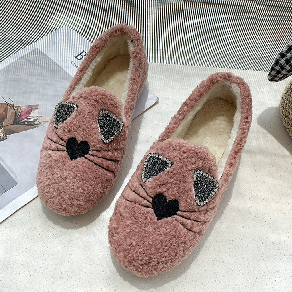 2019 autumn Winter new Women's Ladies Ankle Flat shoes Roman Warm Cotton Fabric Casual Shoes warmer winter boots cute boot#O22 74