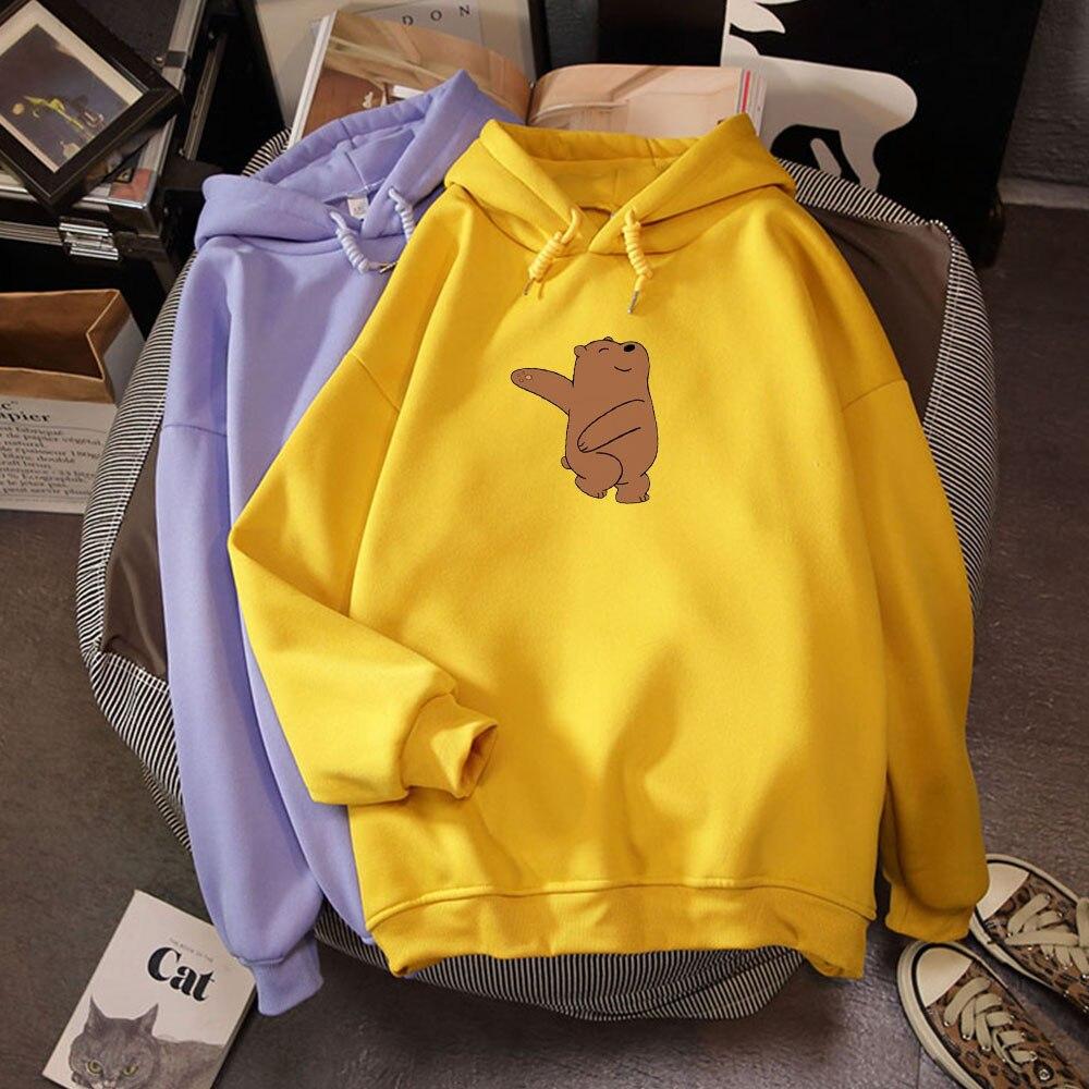 Winter Thick Loose Women Hoodies K Pop Sweatshirts Street Wear Kawaii Clothes For Girls Do Sport Cute Bear Print Casual Tops