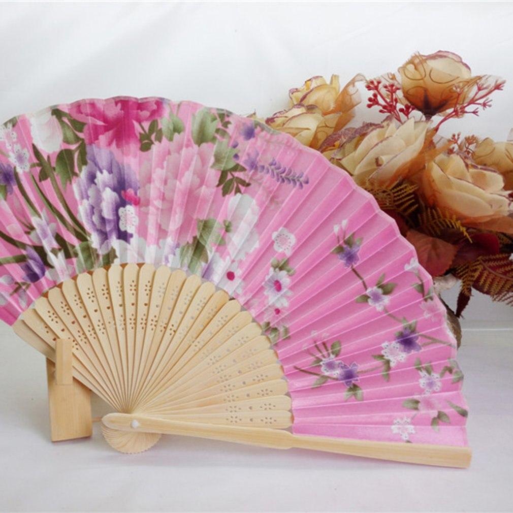 Japanese Chinese Folding Silk Hand Held Fan Plum Blossom Bamboo Fan Cosplay Gift
