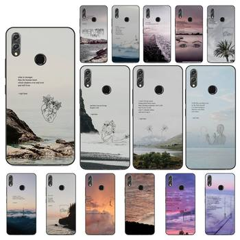 Yinuoda Rupi Kaur Beach Sea Mountain Lines Art Poetry Phone Case For Huawei Honor 8X 8A 9 10 20 Lite 30Pro 7C 7A 10i 20i image