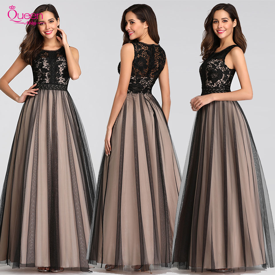 Evening Dress Long Elegant Brown A-line High Neck Floor-length With Lace Appliques Evening Party Gowns